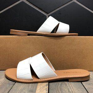 W Krush Faux Croc Double Strap Mules White Size 9